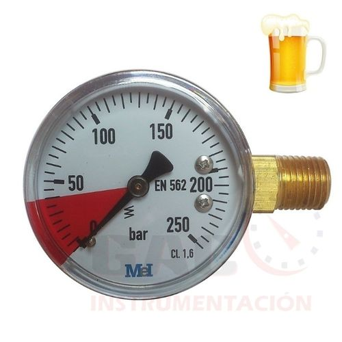 "MANOMETRO REGULADOR CERVEZA de 50mm 1/4""NPT de 250 bar"