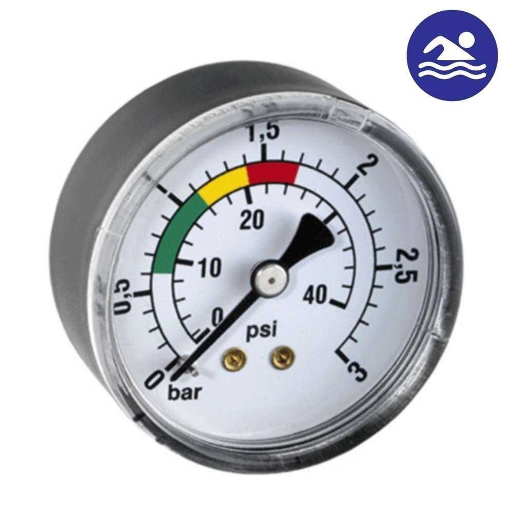 MANOMETRO POSTERIOR PARA FILTRO PISCINA 50 mm 3 bar 40 psi 1/8