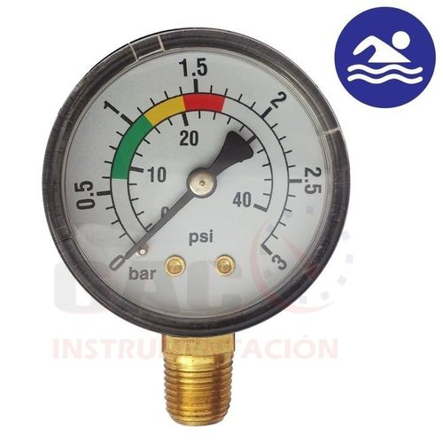 MANOMETRO VERTICAL PARA FILTRO PISCINA de 3 bar 40 psi 1/8""
