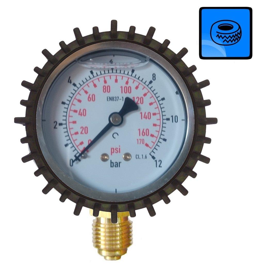 Manometro para presion neumaticos de 63mm 12 bar 1 4 for Manometro para medir presion de agua