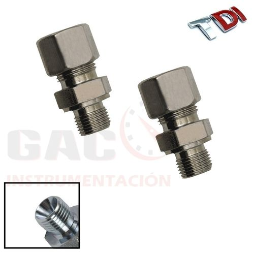 "KIT 2 ADAPTADORES 1/4"" CONO 60º  T.6MM  PARA CONEXION COMMON RAIL"