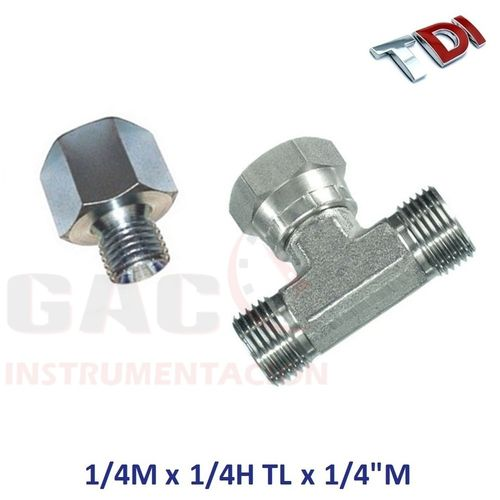 "RACOR TE ADAPTADOR 1/4"" CONO 60º  PARA CONEXION COMMON RAIL"