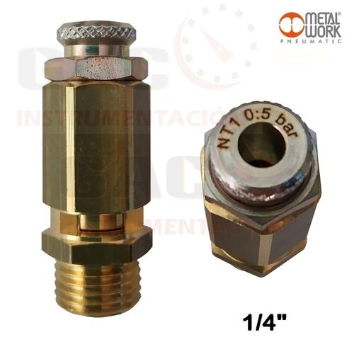 "VALVULA DE SEGURIDAD 1/4""M REGULABLE DE 0 a 5bar AIRE NEUMATICA LATON"